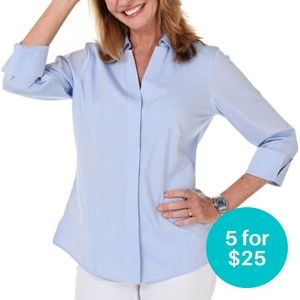 5/$25 - Foxcroft Non-Iron Fitted Button Down  6
